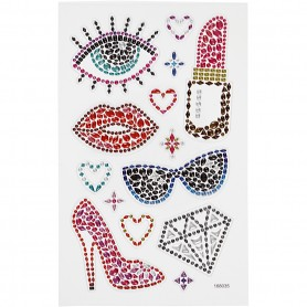 Diamond stickers, ready for the party, 15x16,5 cm, 1 sheet