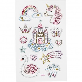 Diamond stickers, unicorn world, 15x16,5 cm, 1 sheet