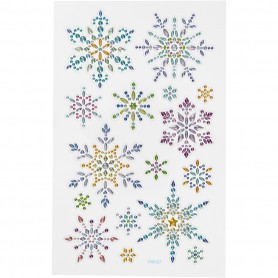 Diamond stickers, snowflakes, 15x16,5 cm, 1 sheet