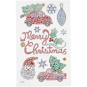 Diamond stickers, Christmas, 15x16,5 cm, 1 sheet