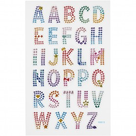 Diamond stickers, alphabet, 15x16,5 cm, 1 sheet