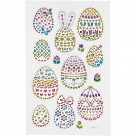 Diamond stickers, Easter eggs, 15x16,5 cm, 1 sheet