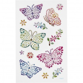 Diamond stickers, butterflies, 15x16,5 cm, 1 sheet