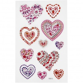 Diamond stickers, hearts, 15x16,5 cm, 1 sheet