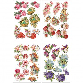 3D Decoupage Motifs, flowers and birds, 21x30 cm, 4 sheet/ 1 pakk