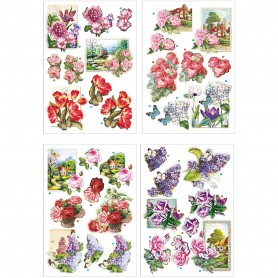 3D Decoupage Motifs, flowers and butterflies, 21x30 cm, 4 sheet/ 1 pakk