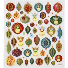 Fancy Glitter Stickers, Christmas baubles and angels, 15x16,5 cm, 1 sheet