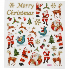 Fancy Glitter Stickers, Father Christmas and reindeer, 15x16,5 cm, 1 sheet