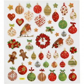 Fancy Glitter Stickers, Christmas baubles and decoration, 15x16,5 cm, 1 sheet