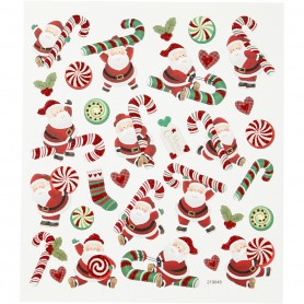 Stickers, Father Christmas and candy cane, 15x16,5 cm, 1 sheet