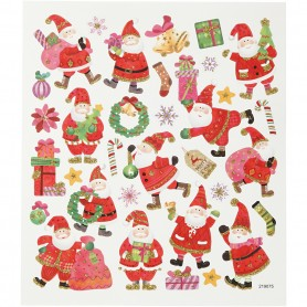 Stickers, happy Father Christmas, 15x16,5 cm, 1 sheet
