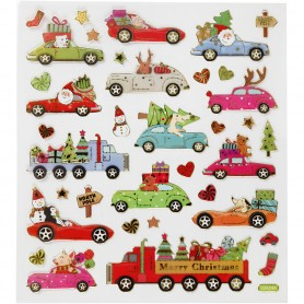 Stickers, driving home for Christmas, 15x16,5 cm, 1 sheet