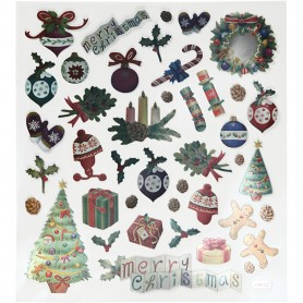 Stickers, old-fashioned Christmas, 15x16,5 cm, 1 sheet