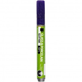 Glass & Porcelain Pens, violet, glitter, line 2-4 mm, semi opaque, 1 tk