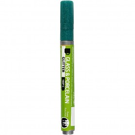 Glass & Porcelain Pens, dark green, glitter, line 2-4 mm, semi opaque, 1 tk