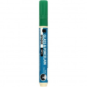 Glass & Porcelain Pens, green, line 2-4 mm, opaque, 1 tk