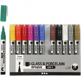 Glass & Porcelain Pens, assorted colours, line 1-2 mm, semi opaque, 12 pc/ 1 pakk