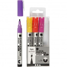 Glass & Porcelain Pens, purple, yellow, line 1-2 mm, opaque, 4 pc/ 1 pakk