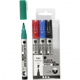 Glass & Porcelain Pens, must, sinine, green, punane, line 1-2 mm, opaque, 4 pc/ 1 pakk