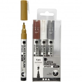 Glass & Porcelain Pens, brown, gold, silver, valge, line 1-2 mm, opaque, 4 pc/ 1 pakk