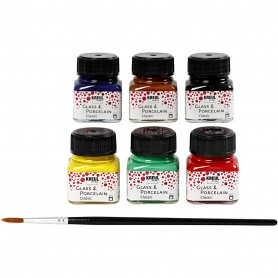 Glass & Porcelain paint, assorted colours, 6x20 ml/ 1 pack