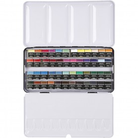 Art Aqua watercolour paints, assorted colours, ½-pan, mõõdud 10x20 mm, 48 colour/ 1 pakk