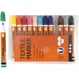 Textile Markers, assorted colours, line 2-4 mm, 12 pc/ 1 pakk