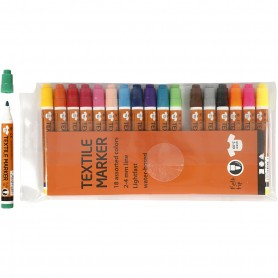 Textile Markers, assorted colours, line 2-4 mm, 18 pc/ 1 pakk