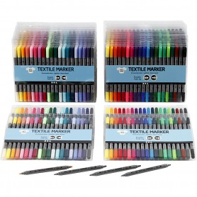 Textile Markers, standard colours, additional colours, line 2,3+3,6 mm, 24x20 pc/ 1 pakk
