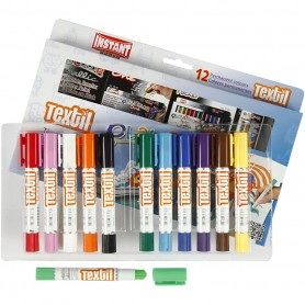 Playcolor Textile Marker, assorted colours, L: 14 cm, 12 pc/ 1 pakk, 5 g