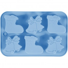 Silicone mould, light blue, christmas stockings and bells, 12,5 ml, 1 pc/ 1 pack