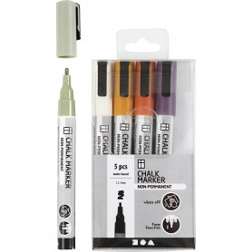 Chalk markers, douche colours, line 1,2-3 mm, 5 pc/ 1 pack