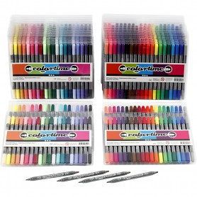Colortime Double Marker, standard colours, additional colours, line 2,3+3,6 mm, 24 pack/ 1 pack