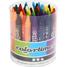 Colortime Wax Crayons, assorted colours, L: 10 cm, thickness 11 mm, 48 pc/ 1 pakk