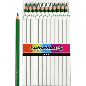 Colortime colouring pencils, green, L: 17,45 cm, lead 5 mm, JUMBO, 12 pc/ 1 pack