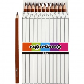 Colortime colouring pencils, brown, L: 17,45 cm, lead 5 mm, JUMBO, 12 pc/ 1 pack