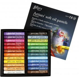 Gallery Oil Pastel Premium, assorted colours, L: 7 cm, thickness 10 mm, 24 pc/ 1 pack
