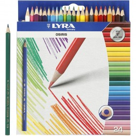 Osiris colouring pencils, assorted colours, L: 18 cm, lead 3 mm, 24 pc/ 1 pakk