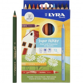 Super Ferby 1 colouring pencils, assorted colours, L: 18 cm, lead 3 mm, 12 pc/ 1 pack