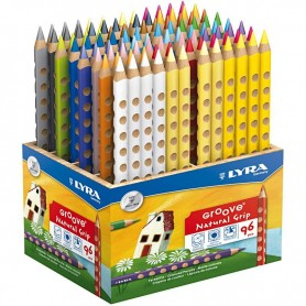 Groove Colouring Pencils, assorted colours, L: 18 cm, lead 4.25 mm, 96 pc/ 1 pack
