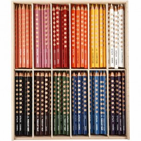 Groove Colouring Pencils, assorted colours, L: 18 cm, lead 4.25 mm, 144 pc/ 1 pack