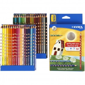 Groove Slim Colouring Pencils, assorted colours, L: 18 cm, lead 3,3 mm, 36 pc/ 1 pack
