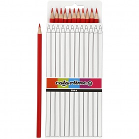 Colortime colouring pencils, red, L: 17 cm, lead 3 mm, 12 pc/ 1 pack