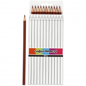 Colortime colouring pencils, brown, L: 17 cm, lead 3 mm, 12 pc/ 1 pack