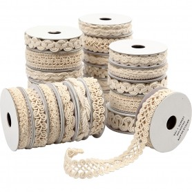 Decorative Ribbon, cream, W: 6-18 mm, 56x0,9 m/ 1 pack