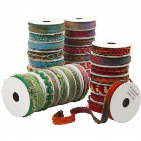 Decorative Ribbon, blue, green, pink, red, W: 8-12 mm, 64x1,8 m/ 1 pack