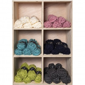 Chunky yarn of acrylic, assorted colours, L: 17 m, size manga , 6x5 ball/ 1 pack