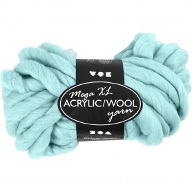 Chunky yarn of acrylic/wool, turquoise, L: 15 m, size mega , 300 g/ 1 ball