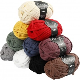 Cotton tube yarn, assorted colours, L: 45 m, 10x100 g/ 1 pack