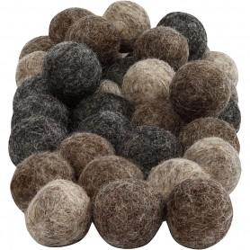 Felt balls, natural, D: 20 mm, 64 pc/ 1 pakk